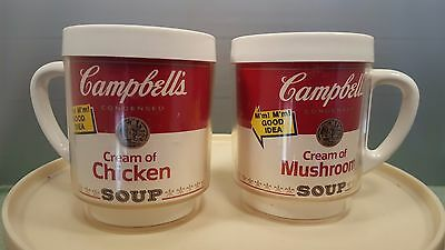 Lot Of 2 Vintage  THERMO SERV CAMPBELLS TOMATO SOUP COFFEE MUGS PLASTIC 1970'S