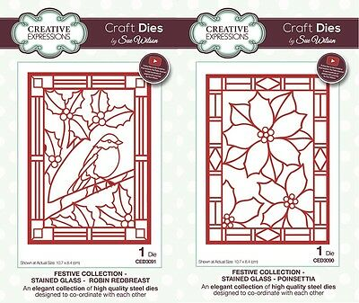 NEW Sue Wilson Craft Dies Festive Stained Glass Collection 2017 Christmas