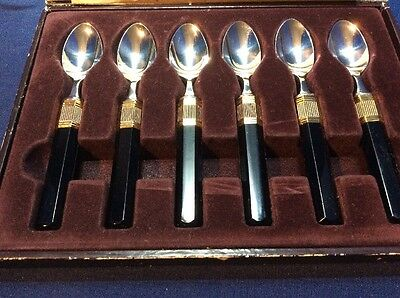Mikasa By Larry Laslo Set 6 Stainless Steel Demitasse Spoons Black  Gold Japan