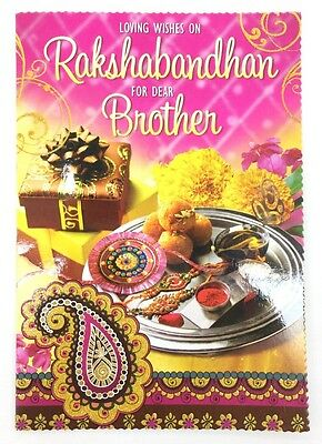 Rakhi/Raksha Bandhan Greeting Card – Loving Wishes On Rakhi - With FREE Thread