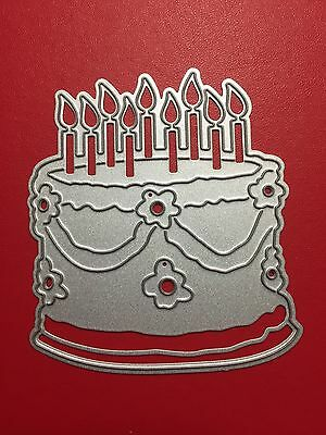 NEW• BIRTHDAY CAKE With CANDLES DIE For Cuttlebug or Sizzix