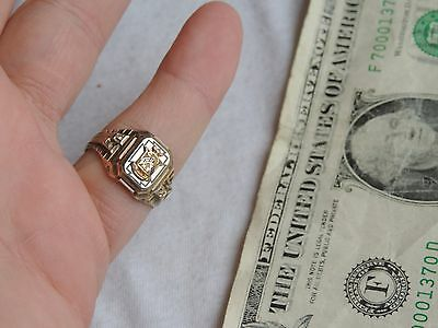 10K Gold & Sterling 1934 Shiloh High School Class Ring Jewelry Vintage  (id195)