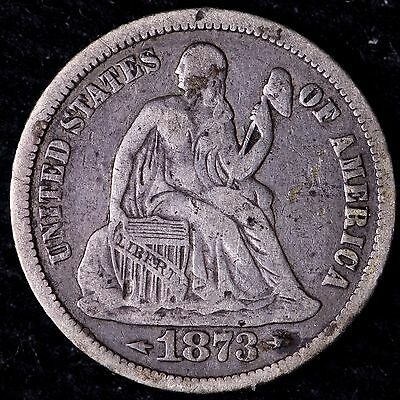 VF 1873 Arrows Seated Liberty Dime R8KNT