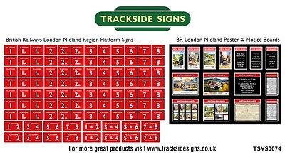 British Railways London Midland Region Platform Numbers & Posters Boards N Gauge