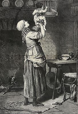 Bird Caged Dove with Mother & Child, Huge Double-Folio 1870s Antique Print