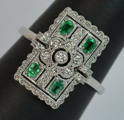 Art Deco Emerald & Diamond 18ct White Gold Panel Cluster Ring d0852