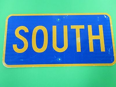 """Authentic Retired 12"""" x 24"""" Blue And Yellow Aluminum South Road Street Sign"""
