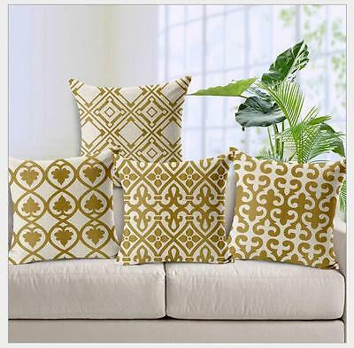 Vintage Linen Cotton Couch Sofa Cushion Cover Throw Pillow Pattern 45X45 cm
