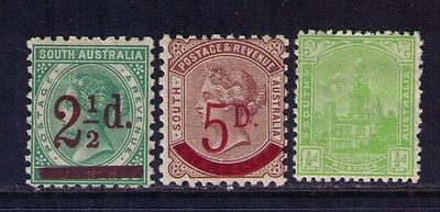 Western Australia Stamps, QV Surcharged SC#94-5;114 MH Cat.$43