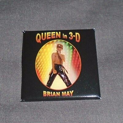 Queen In 3D Book - Glossy 40mm Square Badge (Brian May, Freddie Mercury)