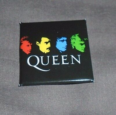 Queen - 40mm Square Glossy Badge (Freddie Mercury Brian May)