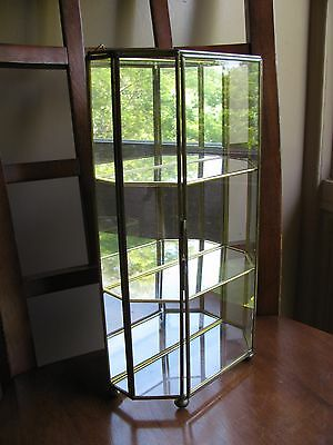 "Vintage SMC Brass Glass Mirrored Display Case 12"" Wall Or Shelf"