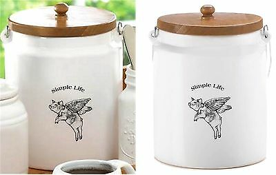 "FLYING PIG ""SIMPLE LIFE"" LARGE WHITECANISTER ** Wood Top & Metal Handle ** NIB"