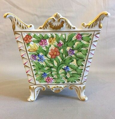 Herend Hungary Pierced Reticulated Basket Cachepot Flowers 6464/C