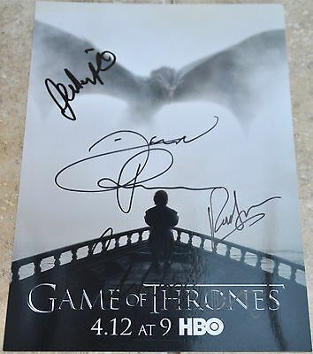 "Multi Signed 12"" x 8"" Colour Photo Game Of Thrones GOT"