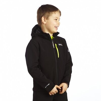 Regatta Airblaze Boys Water Repellent Wind Resist Softshell Jacket Black