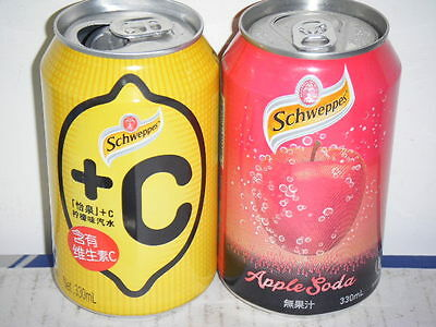 2 schweppes cans from China & Hongkong 330ml empty