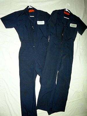 2 Vintage RED CAP Work Coveralls Short Sleeve MFG Company Logo Dark Blue