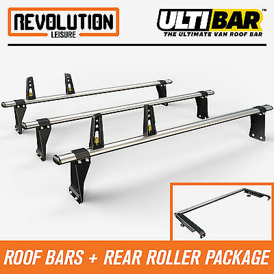 Ford Transit MWB/LWB Medium Roof 00-14 Van Guard 3 x ULTI Bars Rack + Roller