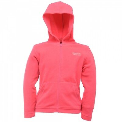 Regatta Chad Girls Hooded Full Zip Anti Pill Symmetry Fleece Jacket Pink