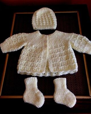 Hand Knitted Baby Yellow WOOL Sweater Booties Hat Size 3-6M Handmade NEW