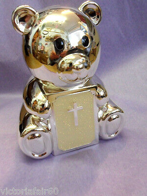 Silver plated teddy with bible money box, Christening gift,