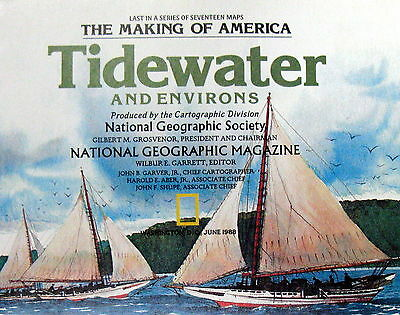 Tidewater Environs Making America National Geographic Map / Poster June 1988