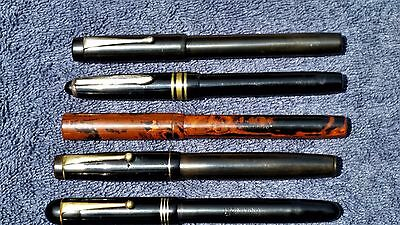 6 Old British Fountain Pens Lot Conway Stewart Waverley Mottled Rubber 14K Nibs