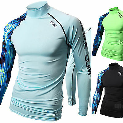 Mens Beach Water Sports Rash Guard Wetsuits Long Sleeve Top Summer Swimwear T619