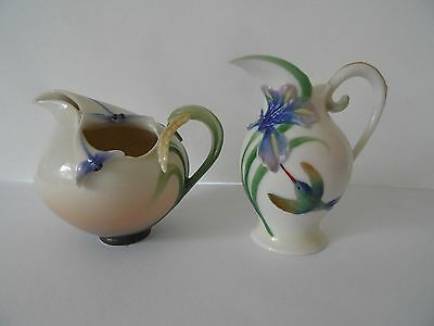 2 x FRANZ PORCELAIN JUGS, DRAGON FLIES AND HUMMING BIRD, EXCELLENT CONDITIION