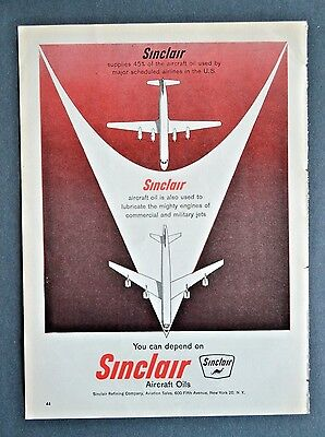 1960 SINCLAIR AIRCRAFT OILS Refining Military Jets Aviation Vintage Print Ad