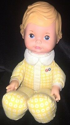 """Fisher Price Honey Lapsitter 12"""" Baby Doll Yellow Floral Vintage 1975"""
