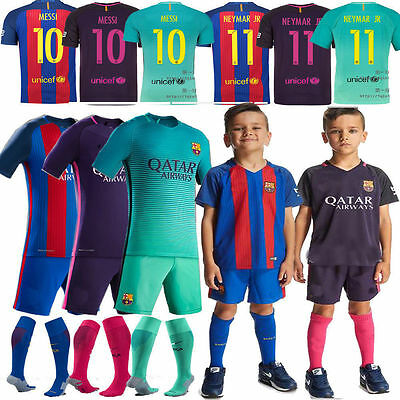 16/17/18 Kids Football Kits Soccer Short Sleeve Team Suit Boy Youth 3-14y+socks