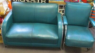 1930s green leather love seat & chair