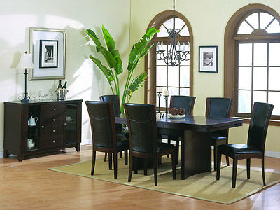 MISTY - 7pcs Modern Borwn Rectangular Dining Room Table & Chairs Set Furniture