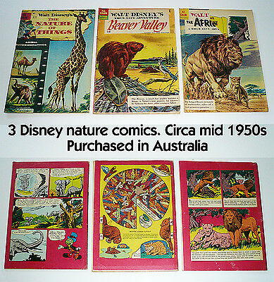 Three Disney comics 1950s Nature Classic themes. Sourced in Australia