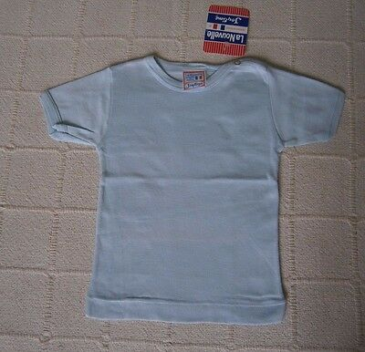 Vintage Baby T-Shirt - Age 18 months - Pale Blue Ribbed Cotton- New