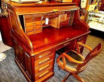 Antique ROLL TOP DESK- Mahogany and Burled Walnut- S Curve- Heavy and Very Nice!