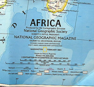 Africa / Political Development National Geographic Map / Poster Feb 1980