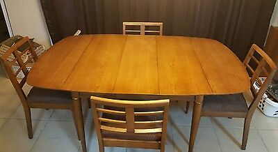 Vintage Mid-Century Modern Drop leaf Dining Set Table 4 Chairs 2 leaves & pads