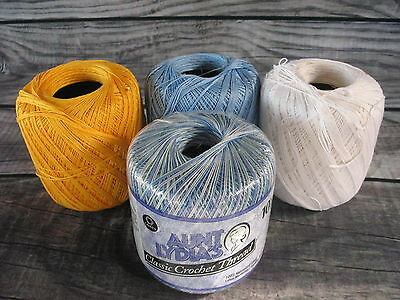 Mixed Lot of Colors of Crochet Thread Yellow Blue White Variegated Lot of 4 Used