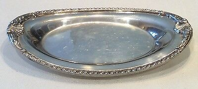 """SHEFFIELD ENGLAND ? Marked Oval Silver Plate Tray 9.25"""" x 5.75"""" Shell Pattern"""