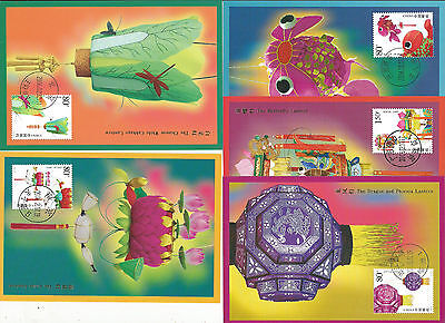 China 2006 Chinese Lanterns Set Of 5 Maximum Cards
