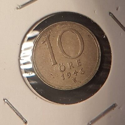 Low Mintage High Grade 10 Ten Ore 1946 KM 795 Sweden Sharp Details !!!