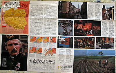 The Face & Faith of Poland ---- National Geographic Map / Poster --- April 1982