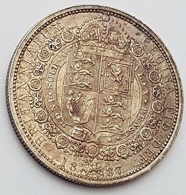 Dated : 1887 - Silver Coin - Half Crown - Queen Victoria - Great Britain UK Rare