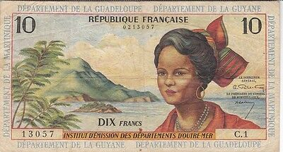 ANTILLES FRANCAISES : 10 FRANCS 1964 sign.1 - P.8a