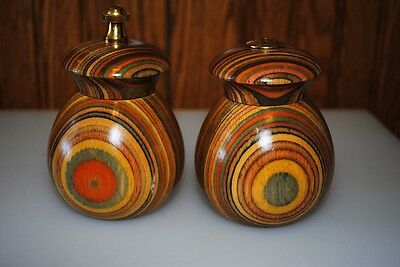 Mr Dudley Rainbow Wood Round Salt Pepper Shakers Mill
