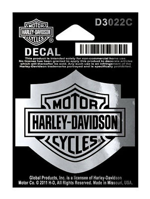 Harley-Davidson Bar & Shield Logo Chrome Decal, SM 2.25 x 1.75 inches D3022C