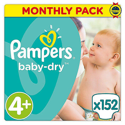NEW Pampers Baby Dry Nappies Monthly Saving Pack Size 4+ of 152 *UK*